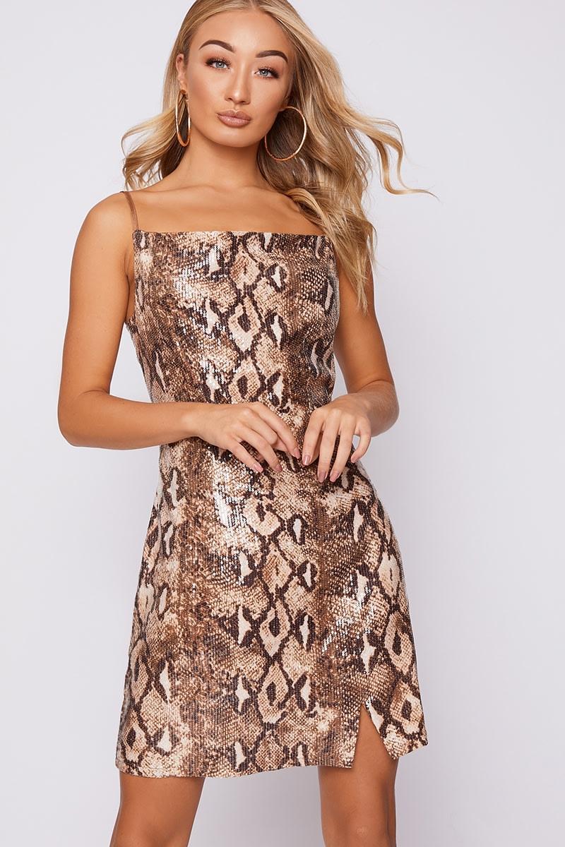 brown snake print sequin mini dress