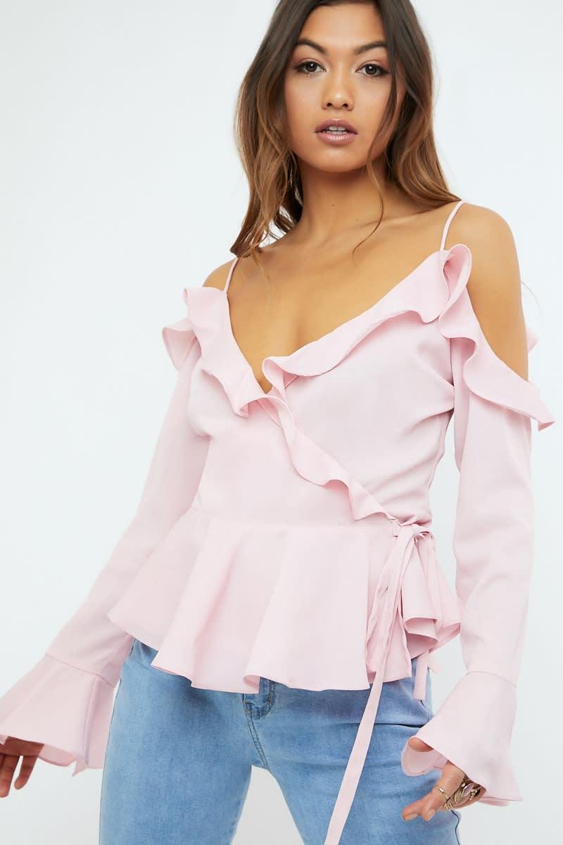 pink frill cold shoulder wrap blouse