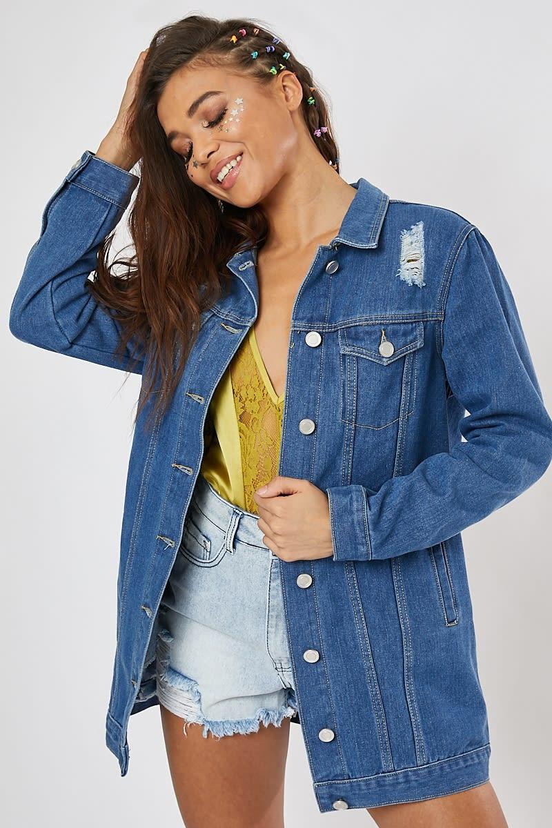 blue longline denim jacket