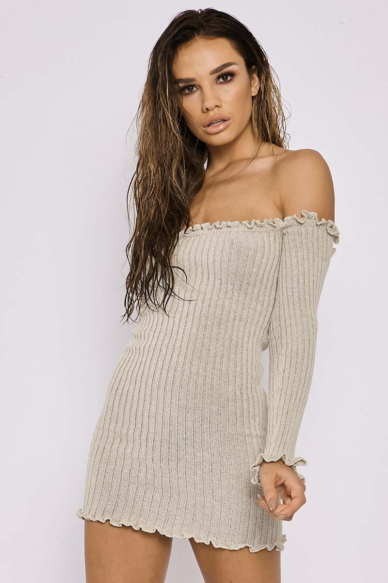 SARAH ASHCROFT STONE RIBBED RUFFLE LONG SLEEVE BARDOT DRESS