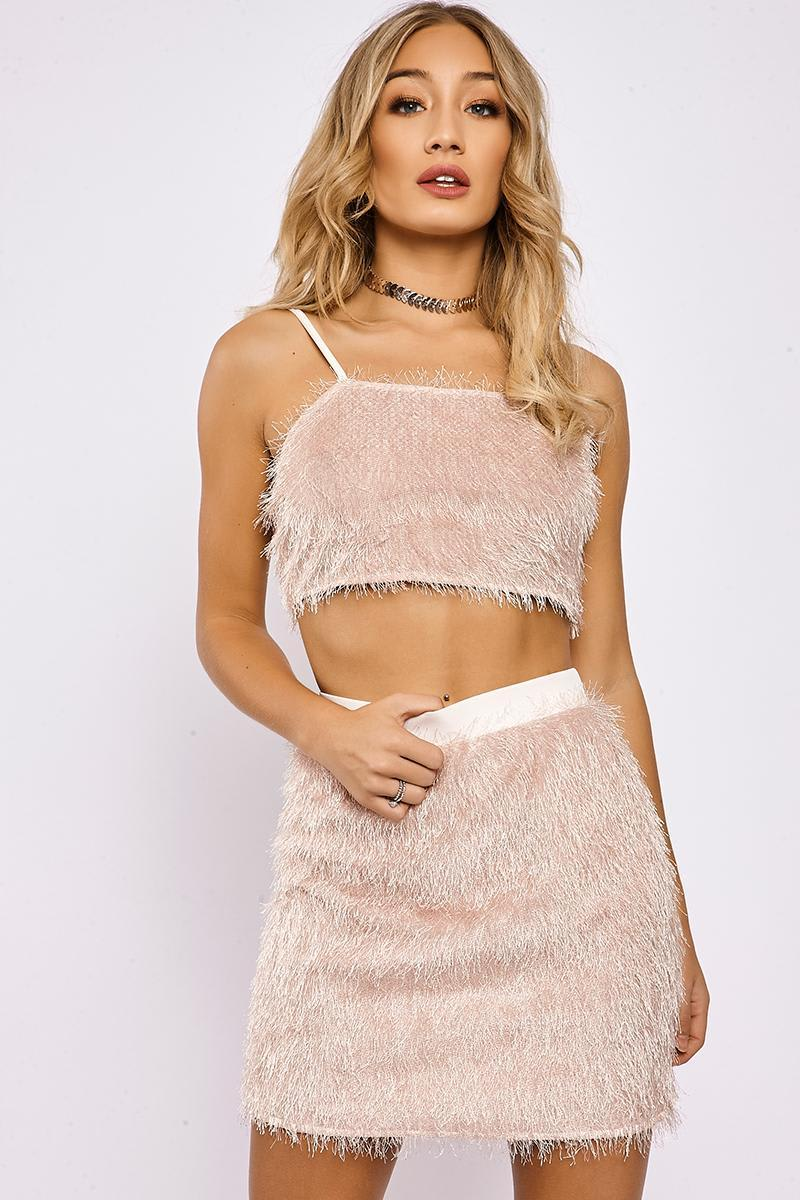 IDIA NUDE FRINGE TOP AND SKIRT CO ORD