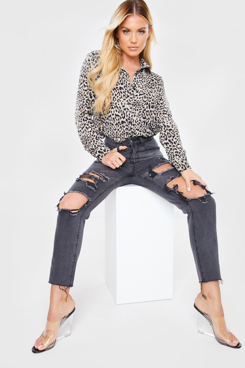 Washed Black Extreme Distressed Mom Jeans