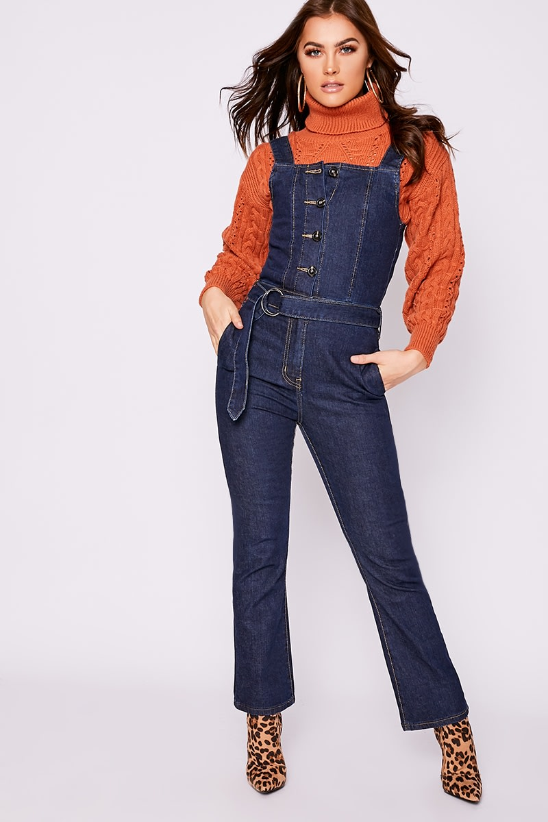 indigo denim button through flared leg jumpsuit