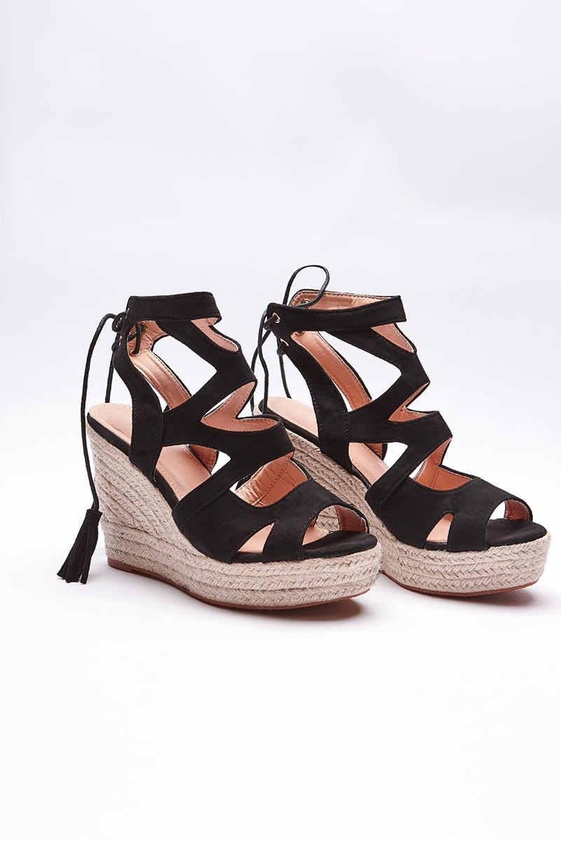 NATHALEE BLACK FAUX SUEDE LACE UP WEDGES