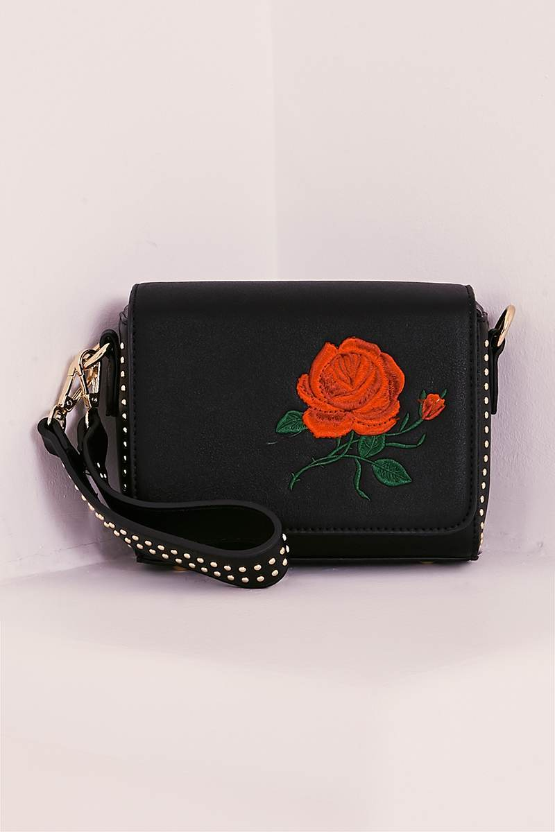 BLACK FAUX LEATHER EMBROIDERED BAG