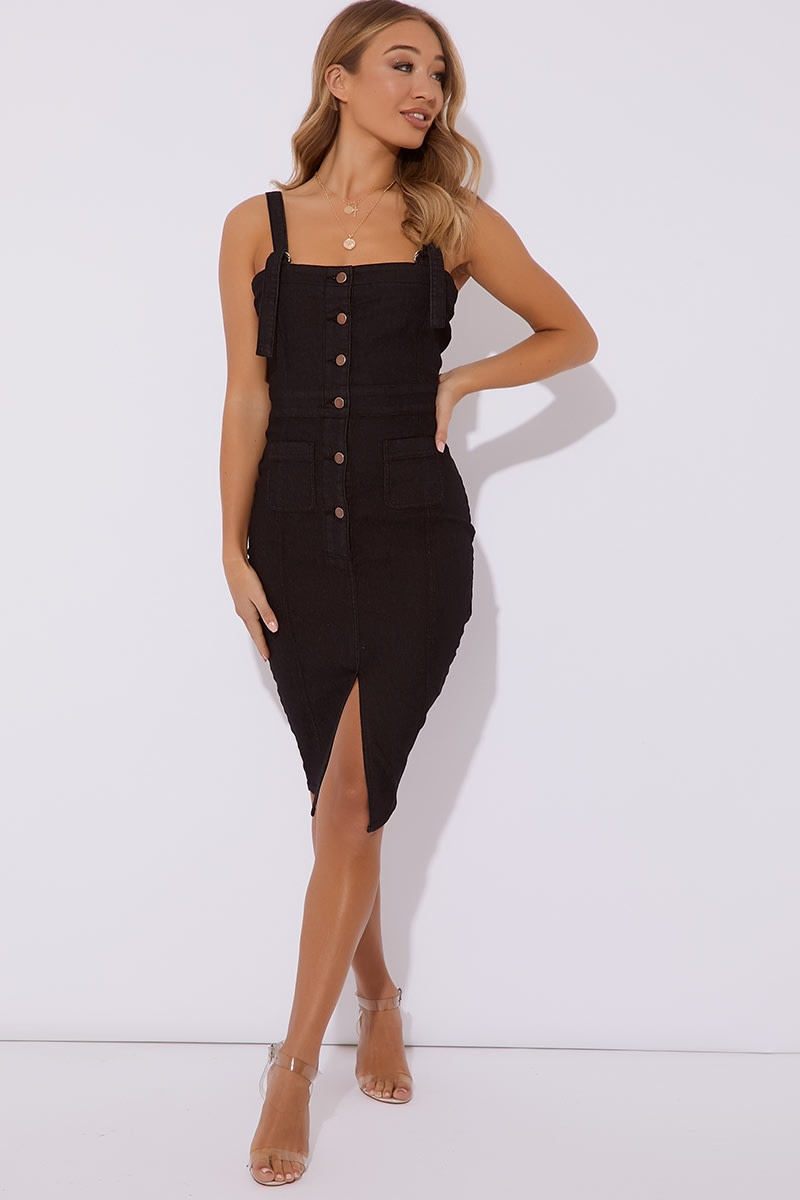 black button through denim midi dress