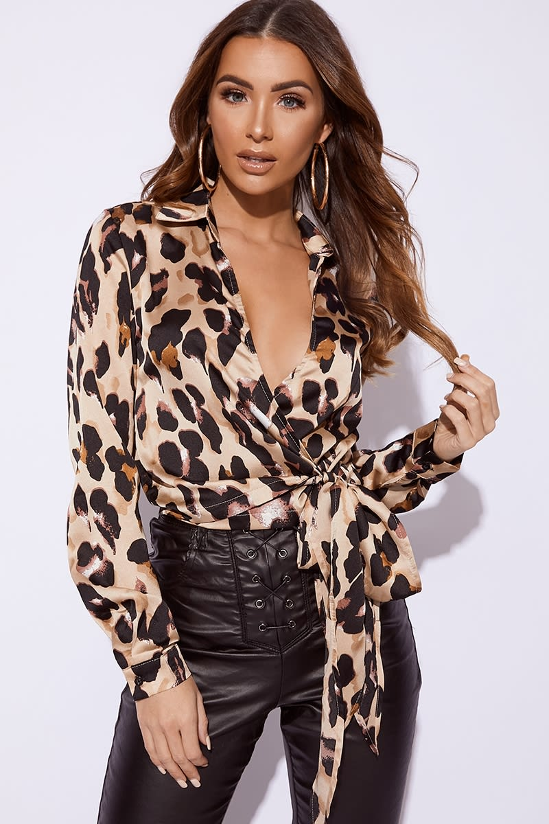 leopard wrap front tie side shirt