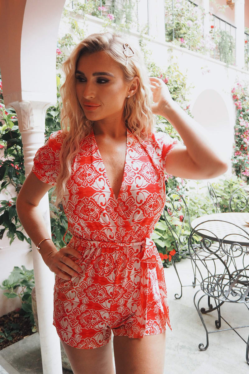 BILLIE FAIERS RED BAROQUE PRINT WRAP PUFF SLEEVE PLAYSUIT