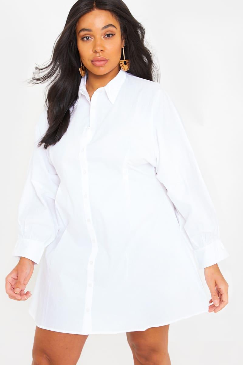 CURVE FASHION INFLUX WHITE BATWING BUTTON THROUGH SHIRT DRESS