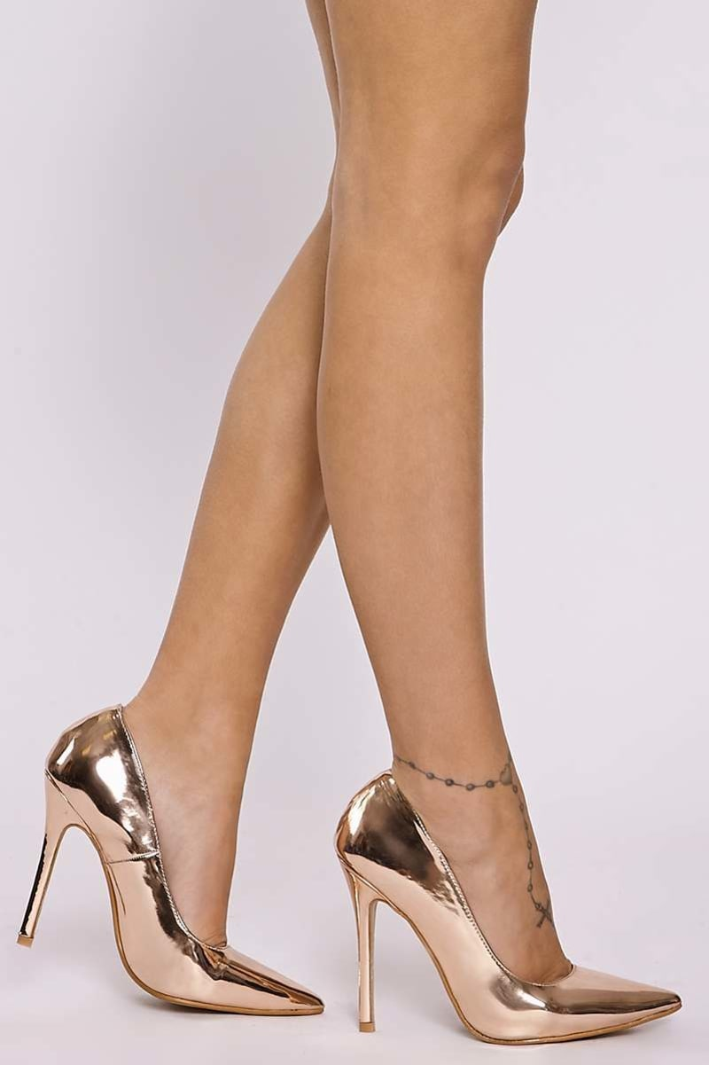 JAMILLE ROSE GOLD FAUX LEATHER COURT SHOES