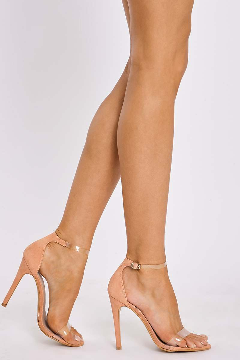 peach faux suede clear strap barely there heels