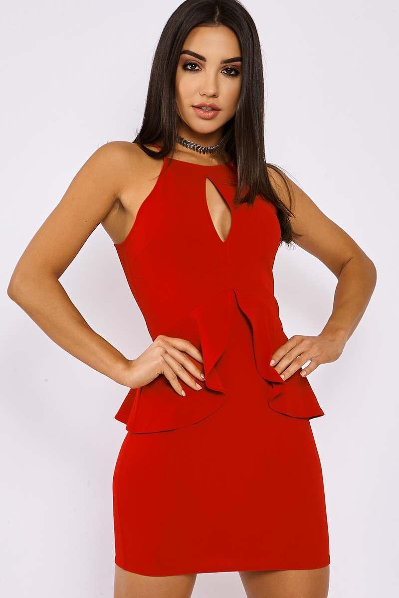 LORIAN RED FRILL WAIST DRESS