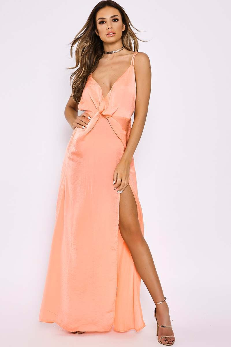 SARAH ASHCROFT PEACH SILKY PLUNGE TWIST FRONT MAXI DRESS