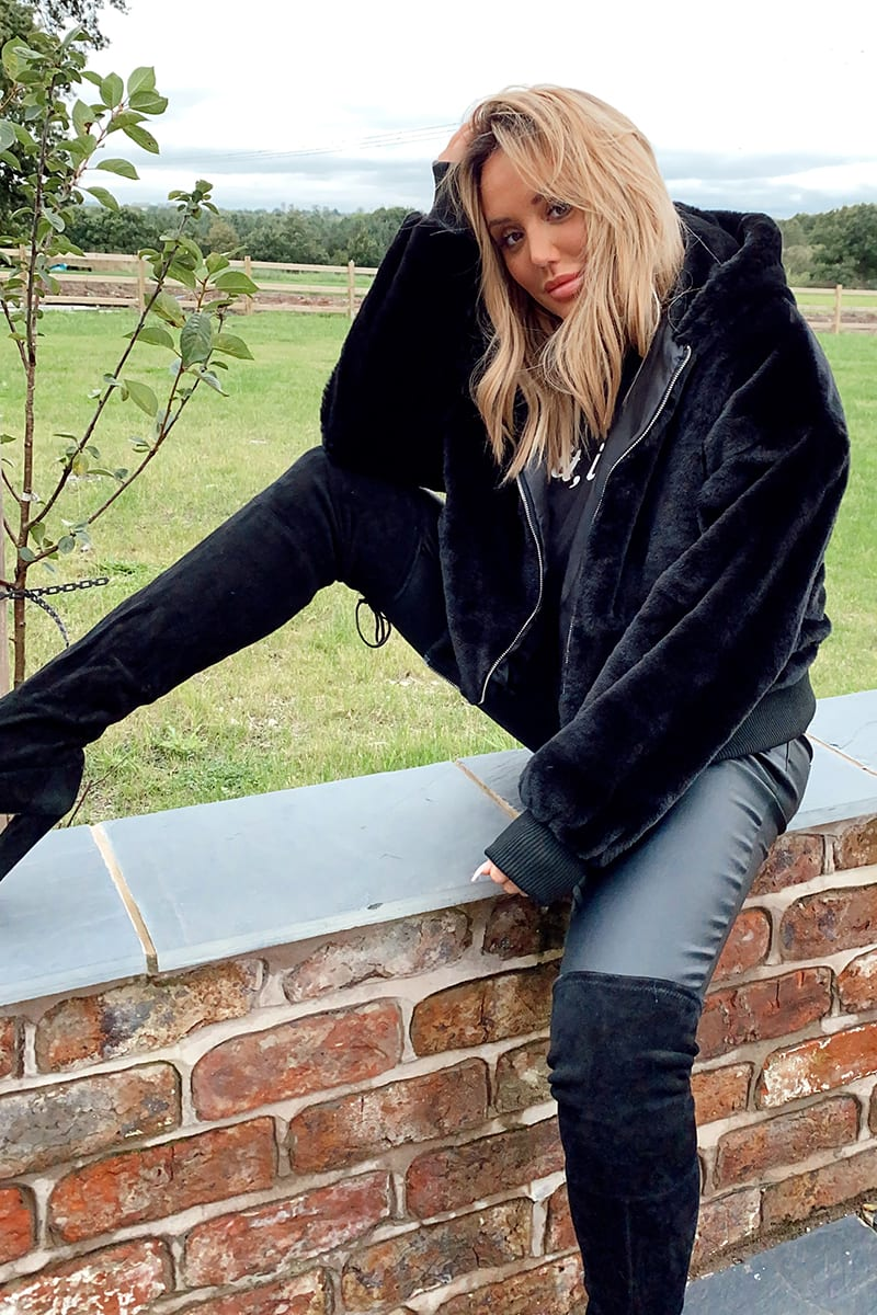 CHARLOTTE CROSBY BLACK FAUX FUR HOODED BOMBER JACKET