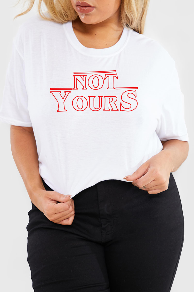 CURVE CHARLOTTE CROSBY WHITE 'NOT YOURS' SLOGAN T SHIRT