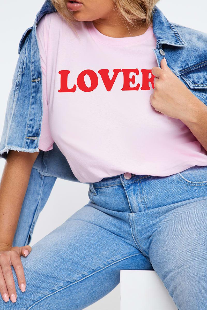 CURVE CHARLOTTE CROSBY PINK 'LOVER' SLOGAN T SHIRT