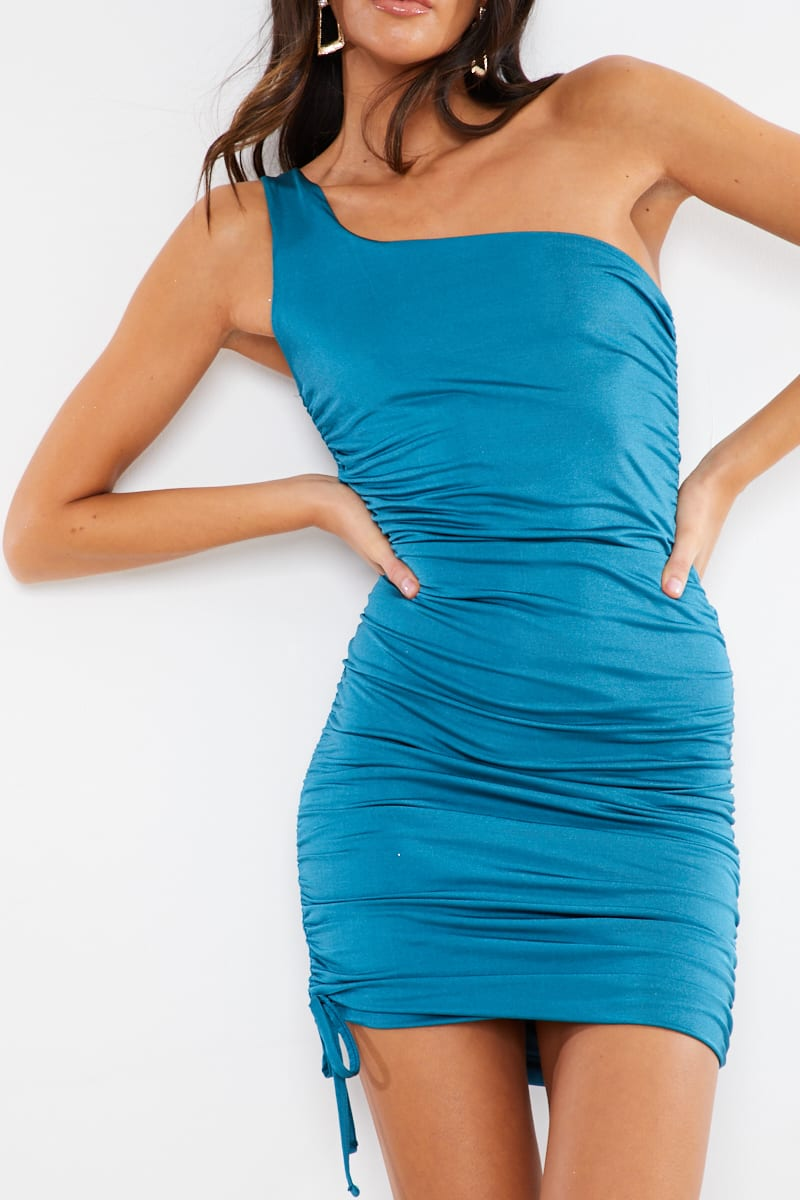 TEAL SLINKY ONE SLEEVE DOUBLE LAYERED RUCHED MIDI DRESS