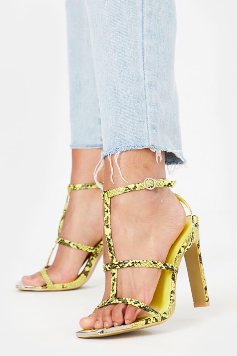 lime snake triple strap heels