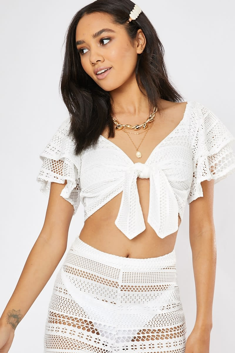 white crochet lace tie front co-ord crop top