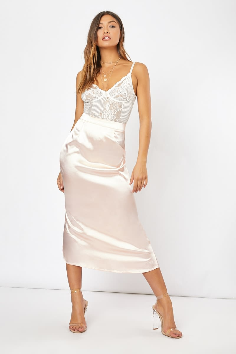 blush satin slip skirt