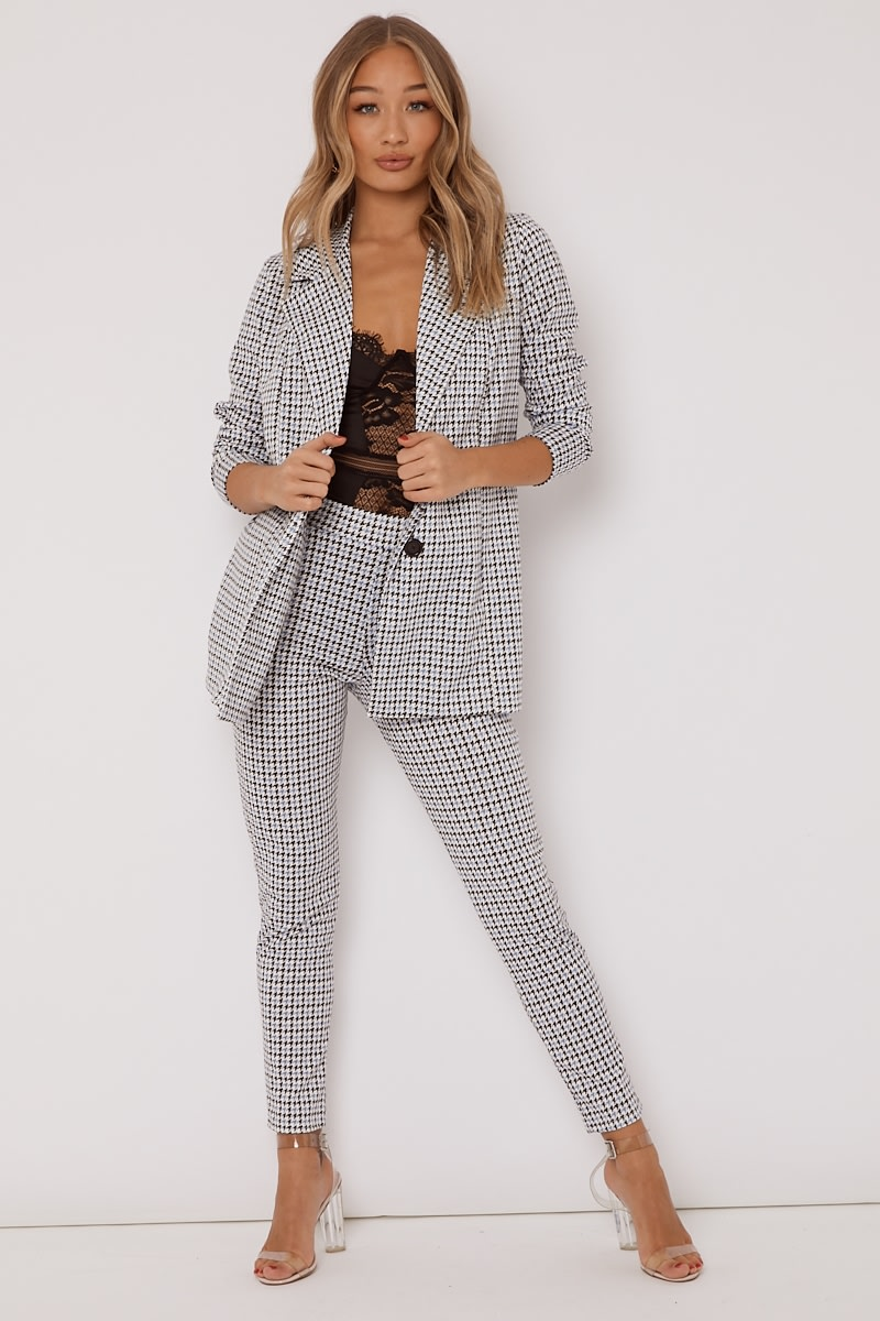 blue dogtooth check co ord trousers