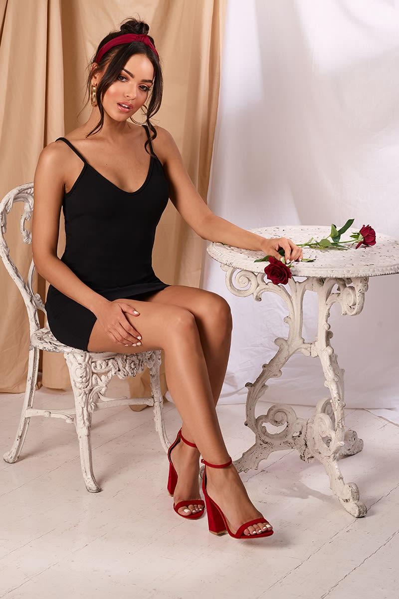 MARIZA BLACK CREPE PLUNGE MINI DRESS
