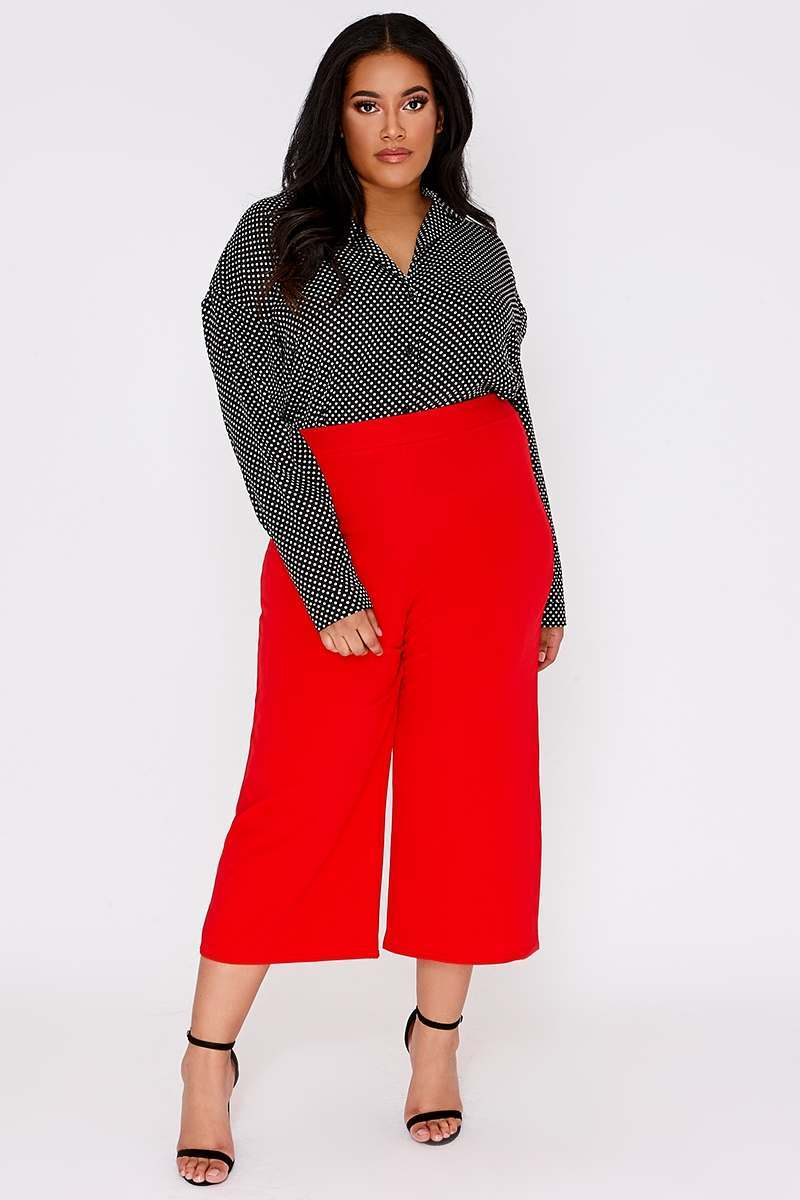 CURVE JALEESA RED CREPE CULOTTES