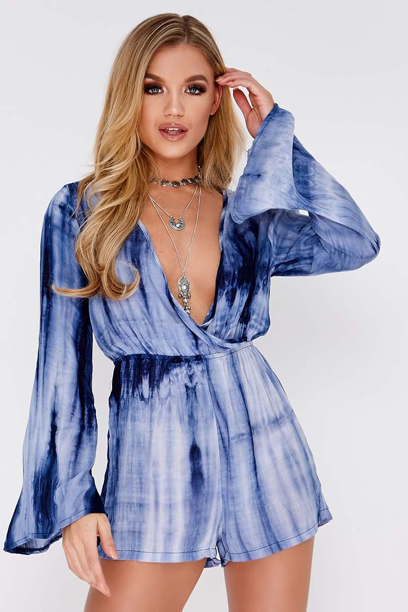 ELLIANA BLUE TIE DYE LONG SLEEVE WRAP PLAYSUIT