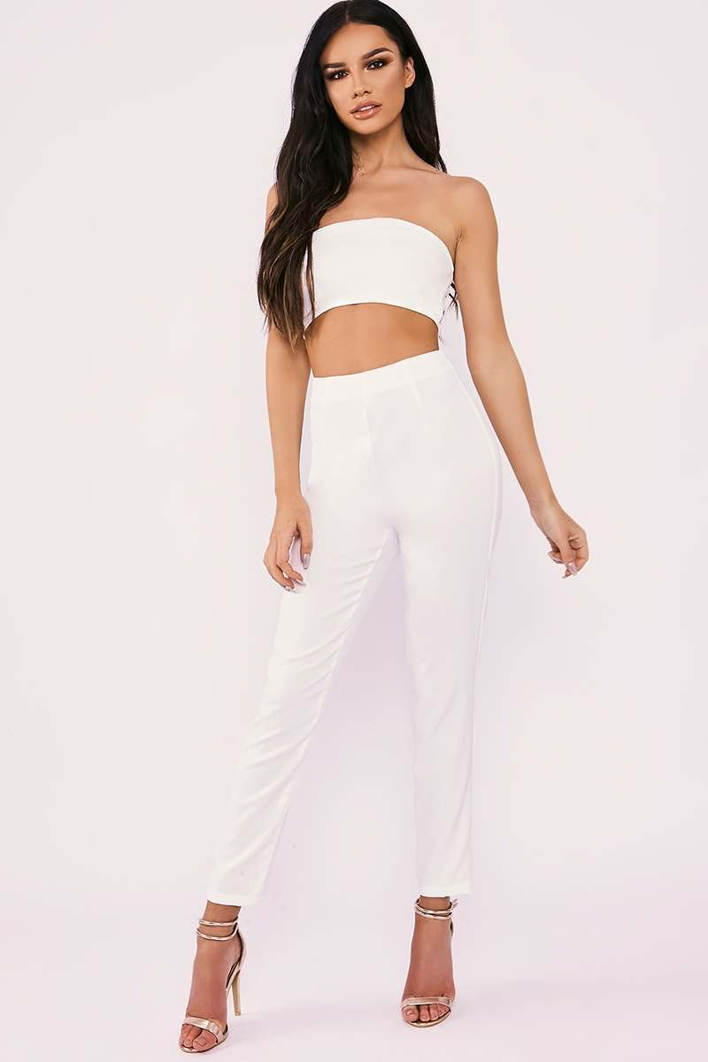SARAH ASHCROFT WHITE STRAPLESS CUT OUT FRONT TAILORED JUMPSUIT