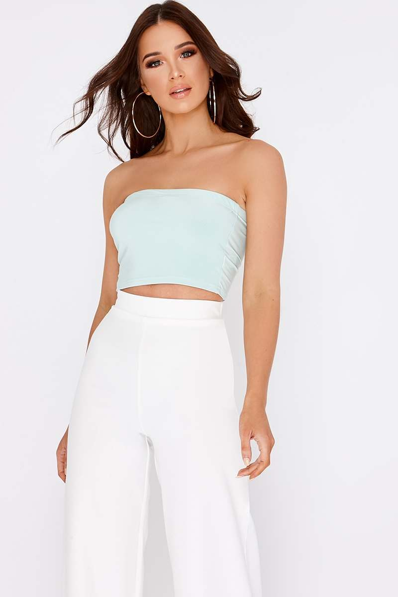 BASIC MINT SLINKY BANDEAU CROP TOP