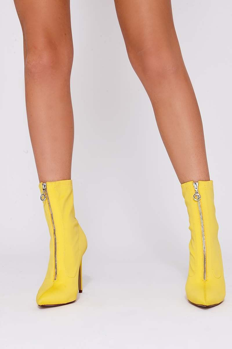 REYNA YELLOW ZIP DETAIL HEELED SOCK BOOTS