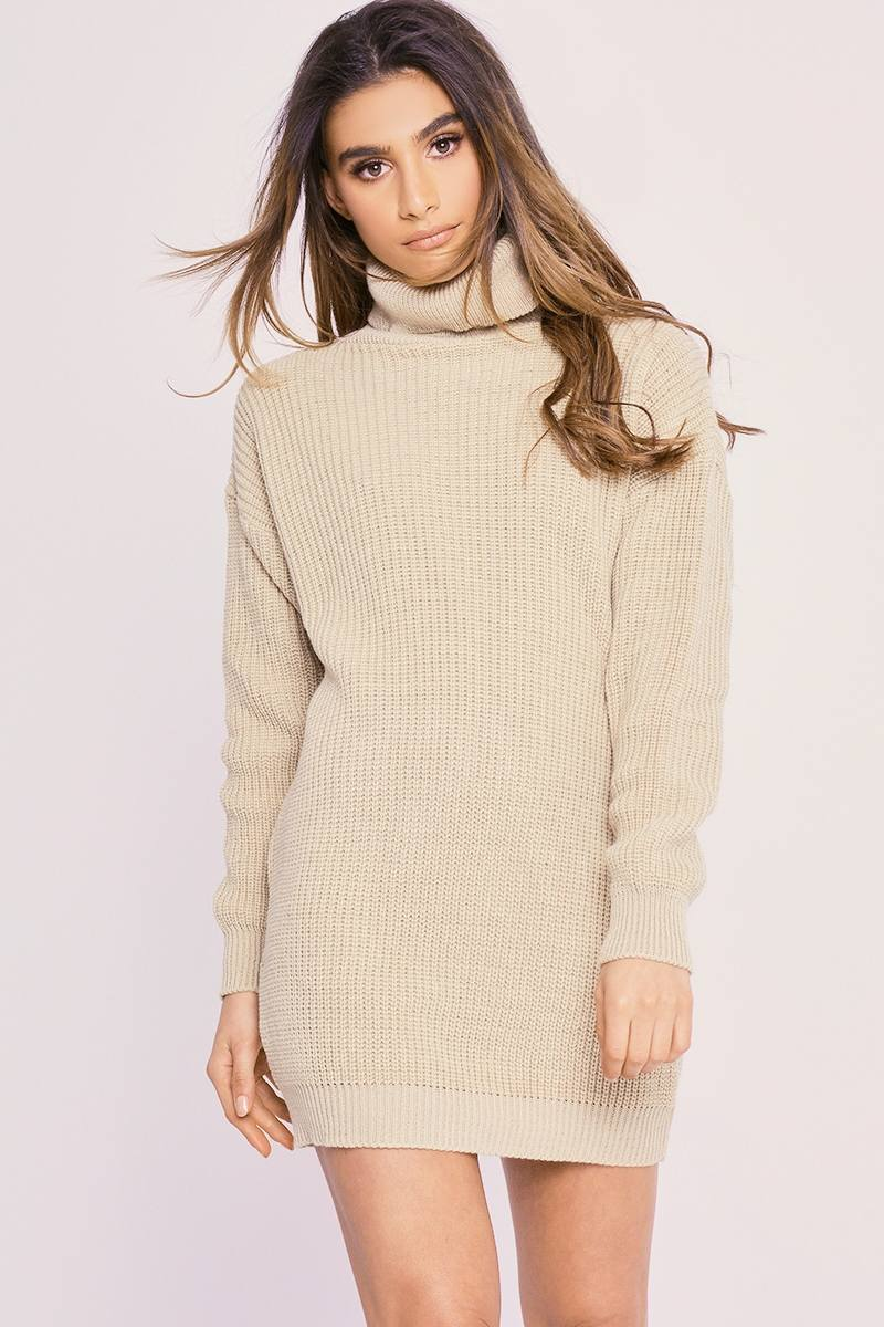 CHARLOTTE CROSBY STONE ROLL NECK OVERSIZED KNITTED JUMPER DRESS
