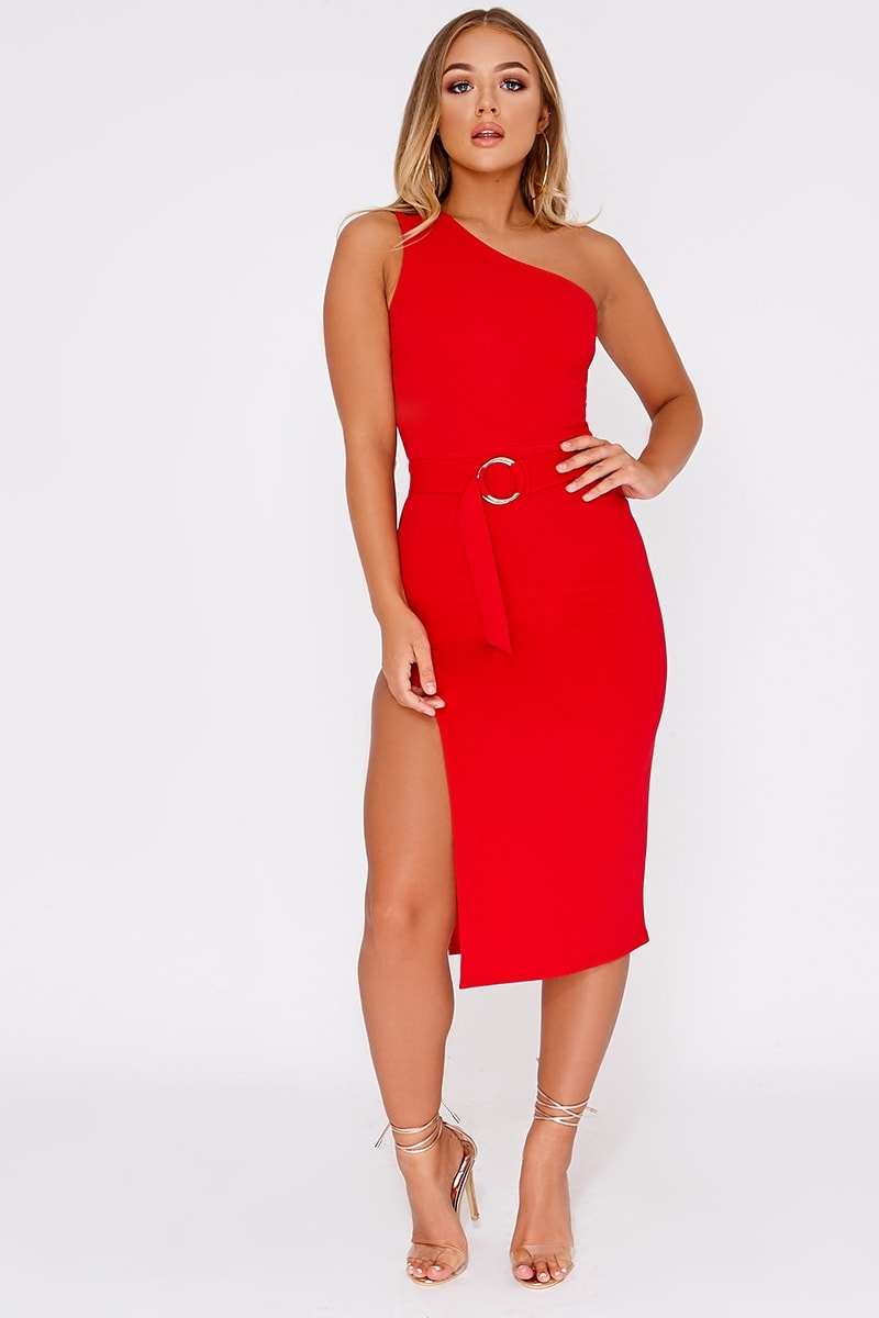 BILLIE FAIERS RED ONE SHOULDER SIDE SPLIT MIDI DRESS