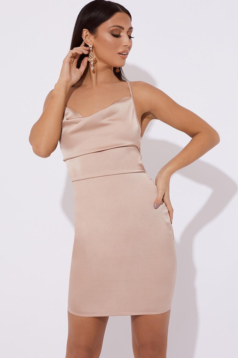 nude satin cowl lace up back mini dress