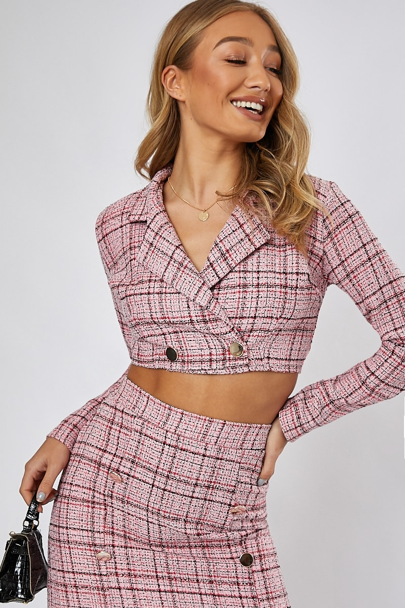 pink tweed button detail cropped co-ord jacket