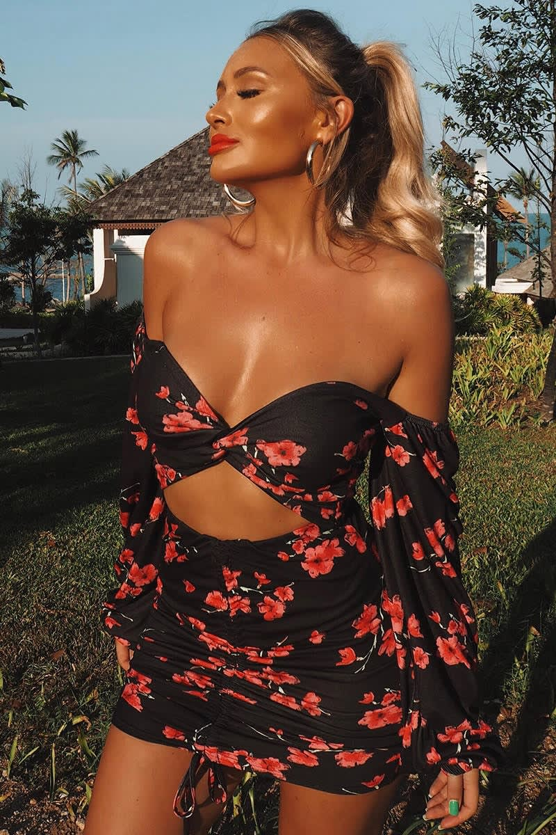 black floral square neck balloon sleeve co-ord top
