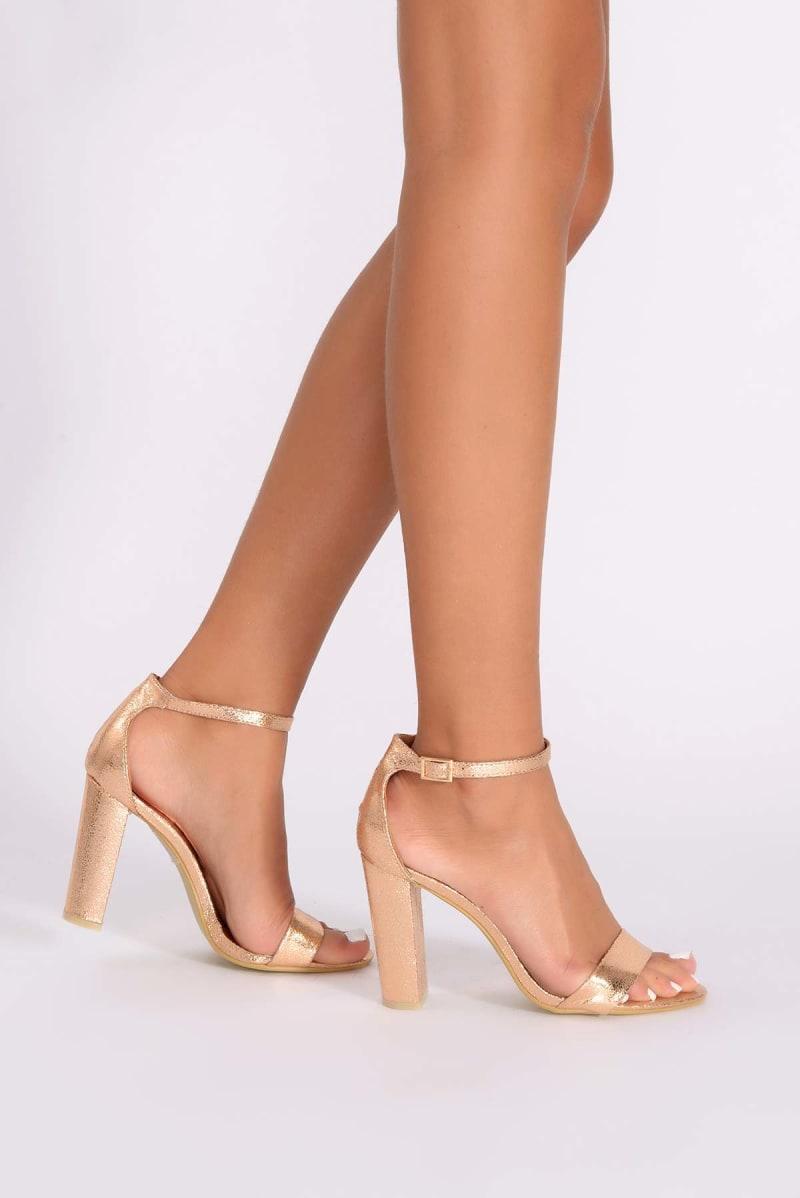 metallic rose gold ankle strap heels