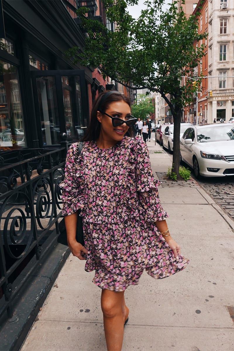 LORNA LUXE BLACK 'GIRL'S GIRL' SECRET GARDEN PRINT RUFFLE MINI DRESS