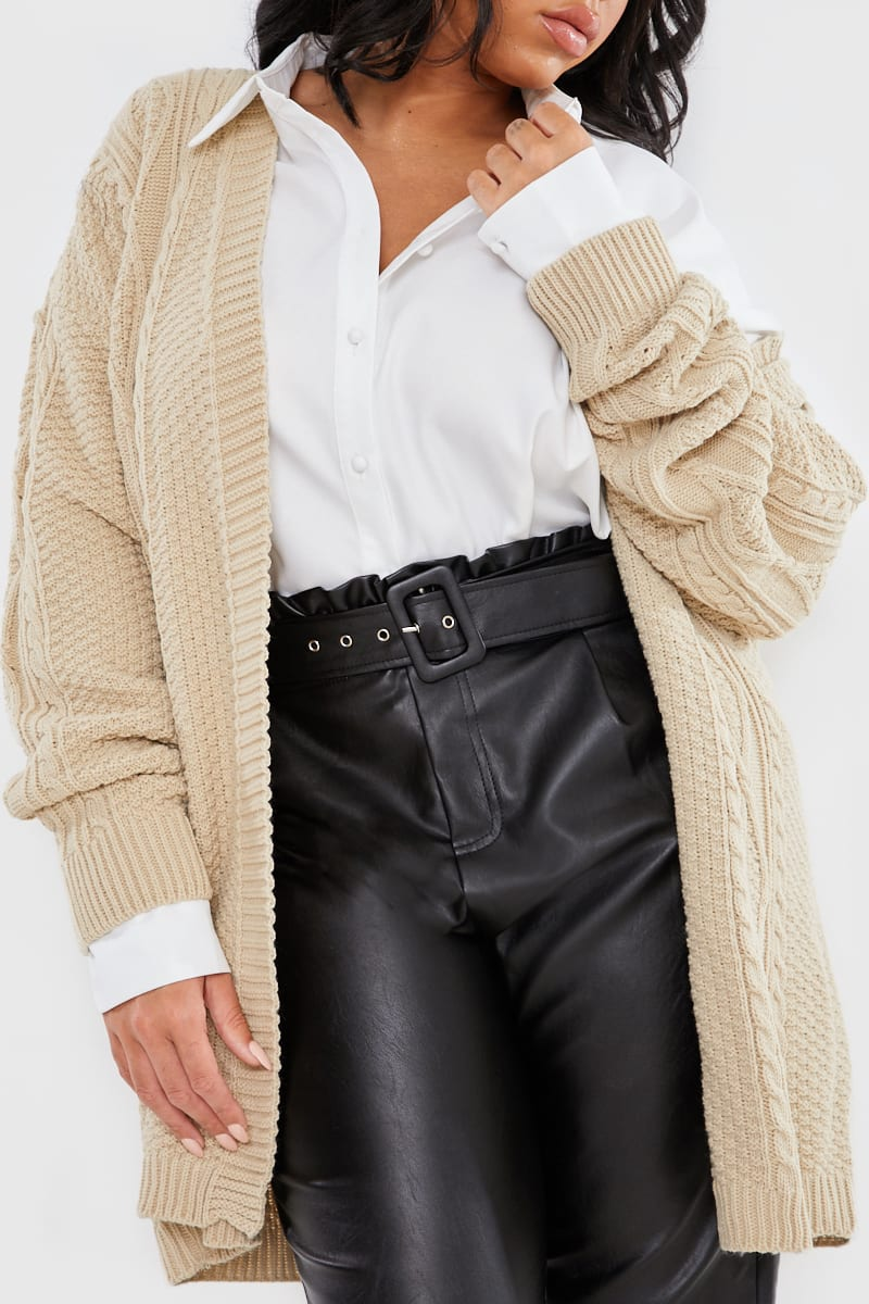 CURVE STEPHSA BROWN CABLE KNIT OVERSIZED CARDIGAN