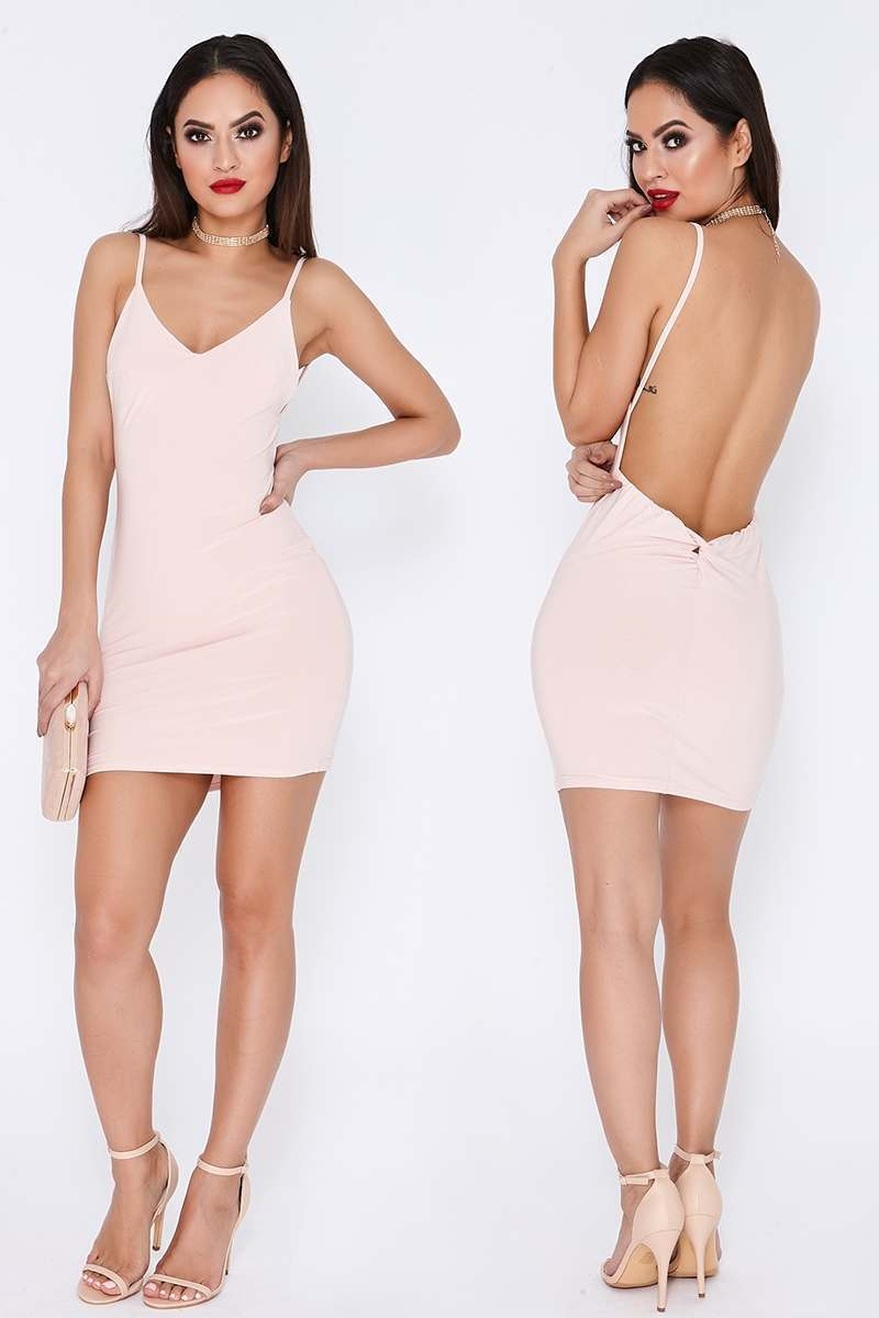TAMMY HEMBROW NUDE RUCHED KNOT DETAIL SLINKY MINI DRESS