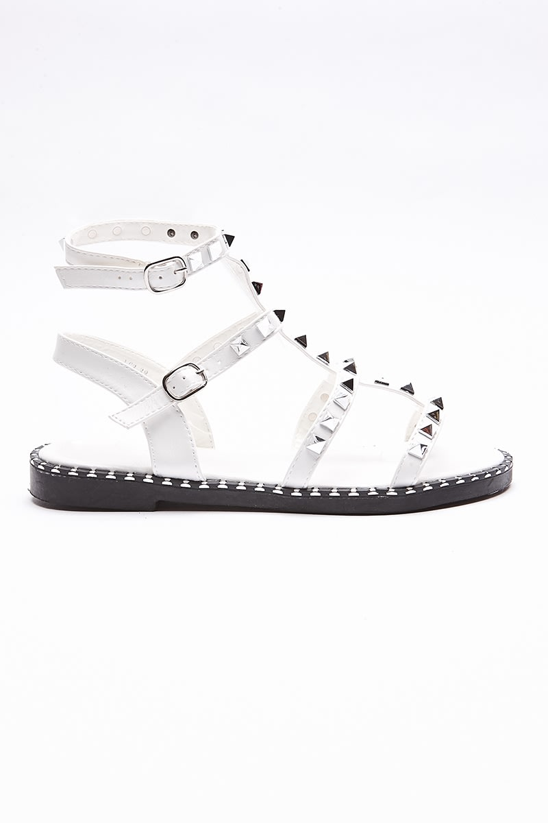 VELLY WHITE STUDDED SANDALS