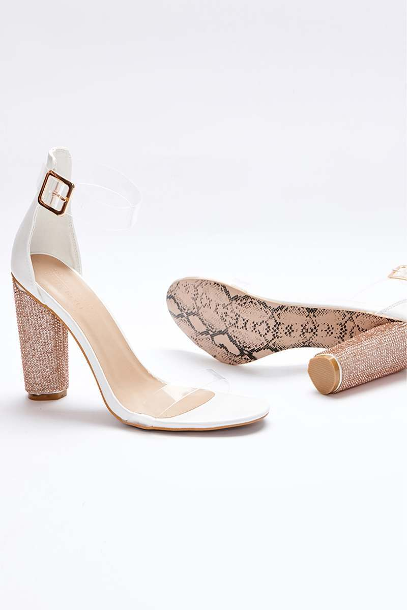 SARAH ASHCROFT WHITE FAUX LEATHER CLEAR STRAP DIAMANTE BARELY THERE HEELS