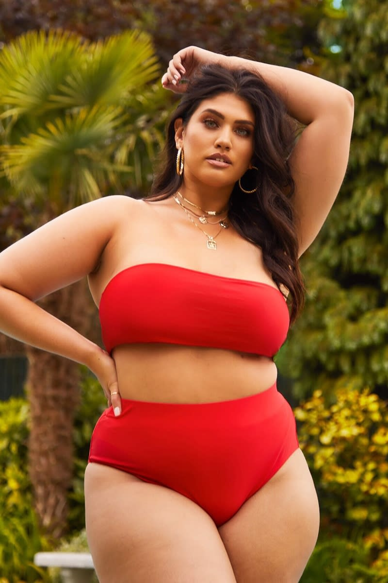 CURVE LATECIA RED HIGH WAISTED BIKINI BOTTOMS