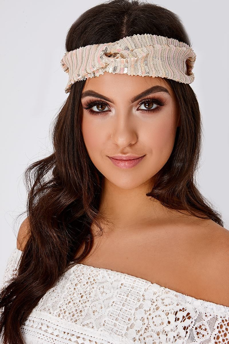 CREAM SEQUIN HEADBAND
