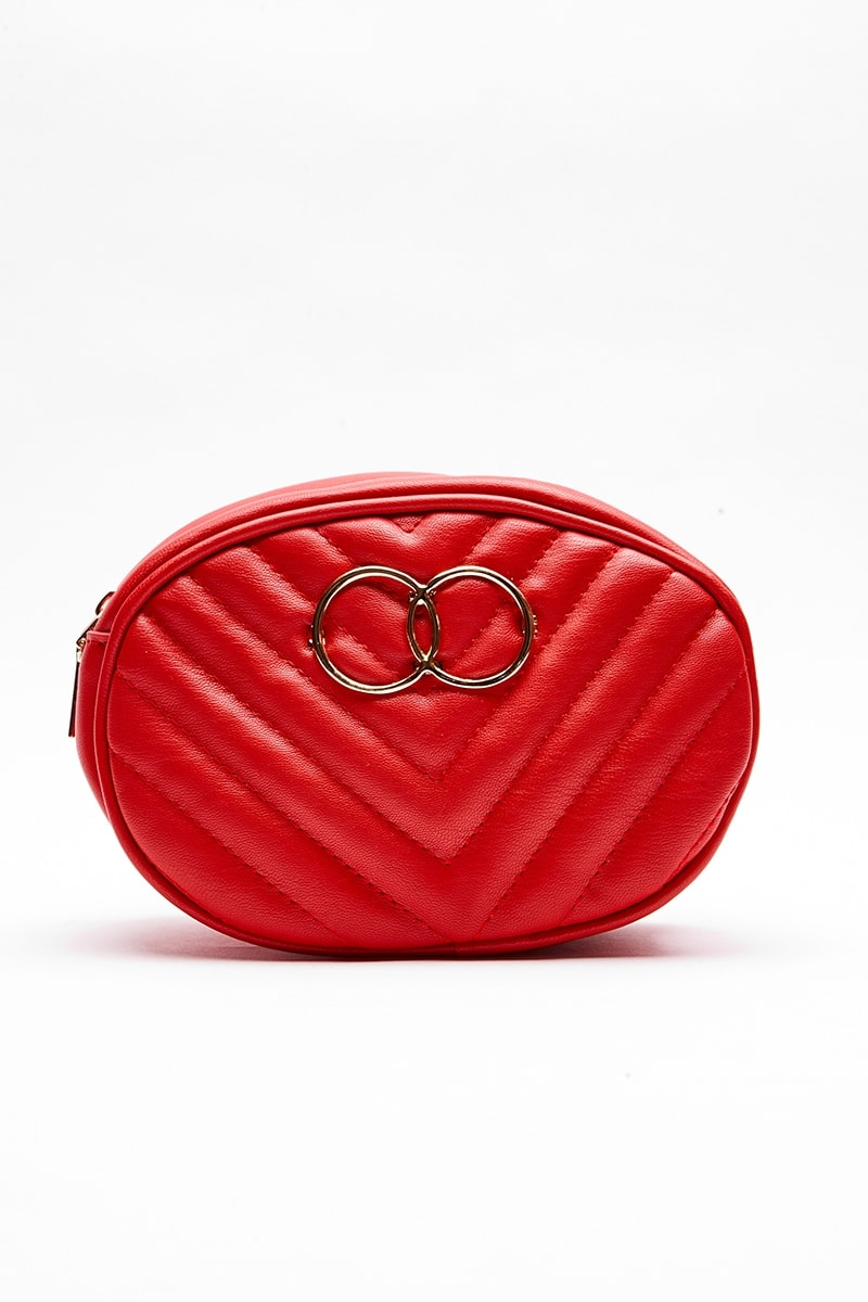 RED FAUX LEATHER RING DETAIL BELT BAG