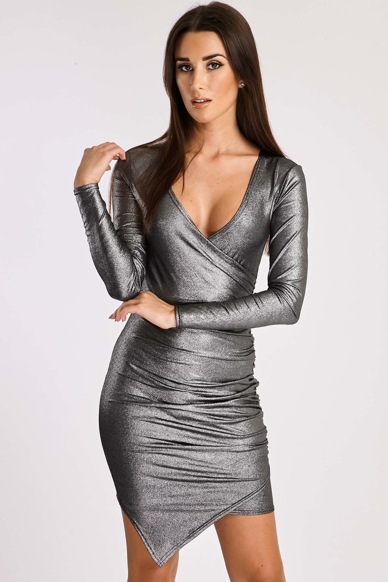 silver metallic ruched wrap dress