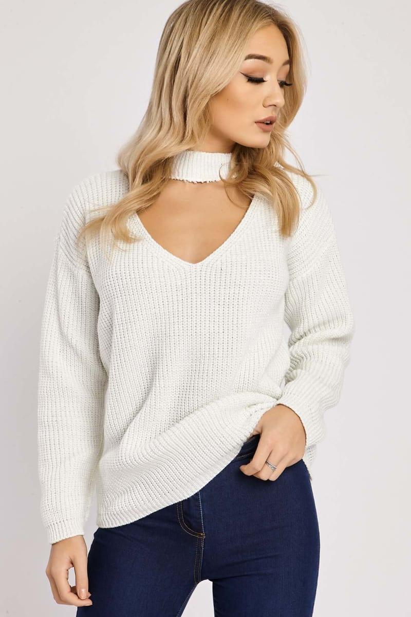 cream choker neck lurex knit jumper
