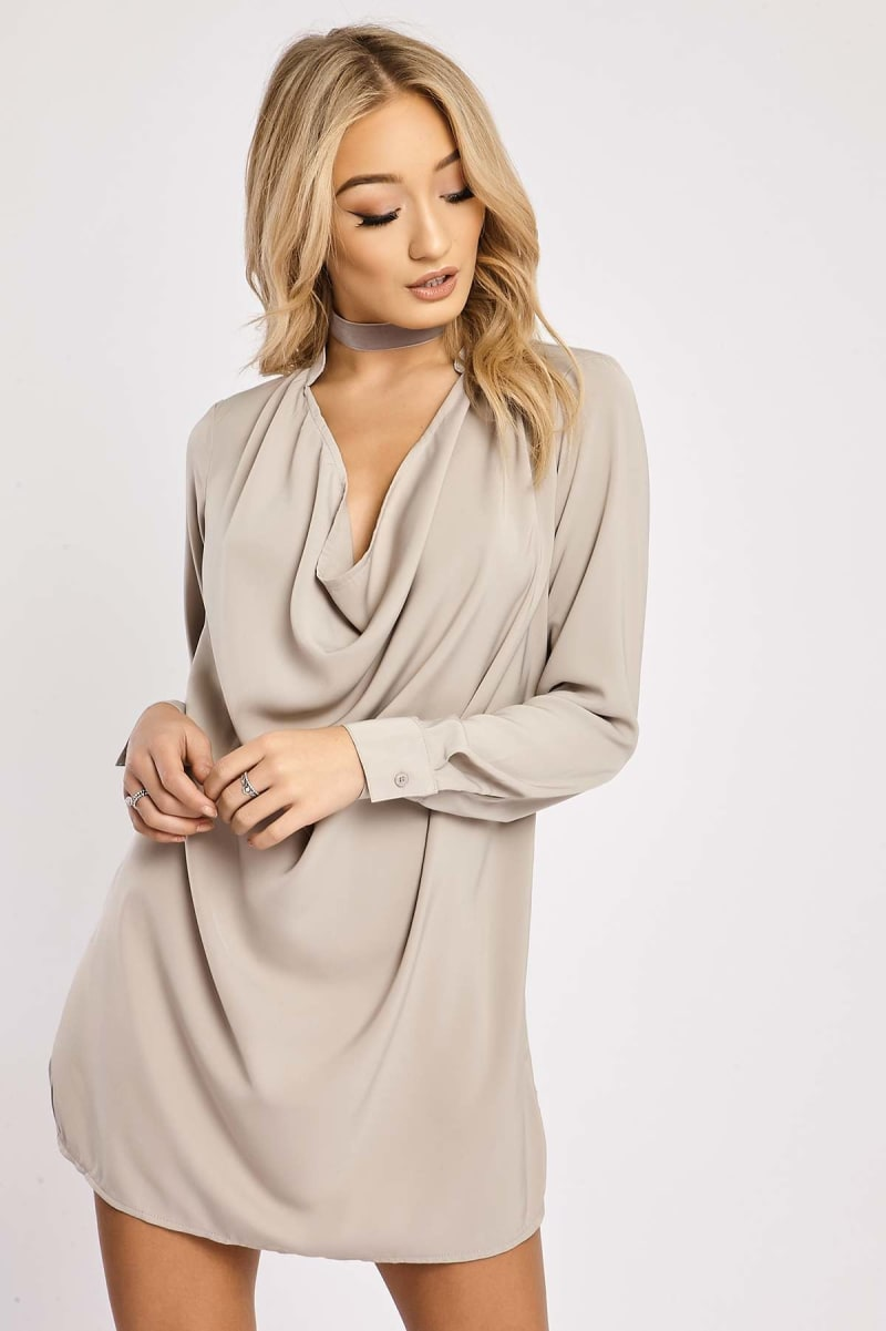 BINKY GREY COWL FRONT SHIRT DRESS
