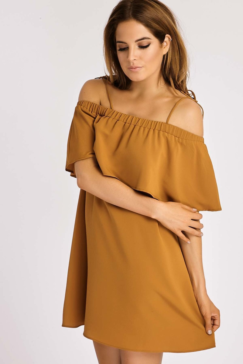 BINKY TAN TIE SHOULDER FRILL BARDOT DRESS