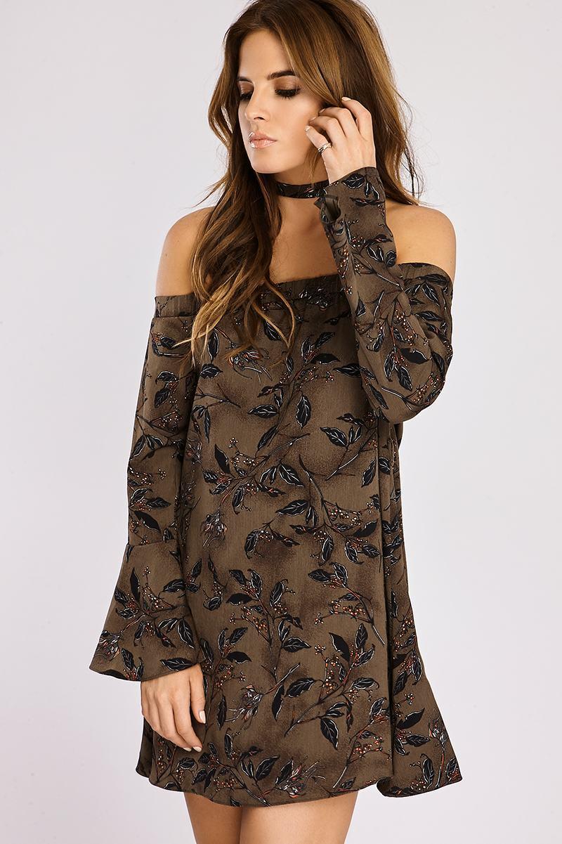 BINKY KHAKI FLORAL PRINT BARDOT SWING DRESS